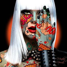 I like body paint for idea just change hair style Tableau Pop Art, Tachisme, Pop Art Wallpaper, Art En Ligne, Arte Horror, Arte Pop, Art Abstrait, Dope Art, Art Portfolio