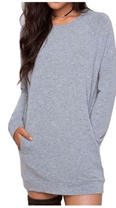 Joeoy Womens Gray Casual Long Sleeve Mini Sweatshirt Dress PulloverXL ** For more information, visit image link. Casual Dress Outfits, Night Outfits, Sweatshirt Dress, One Piece, Clothes For Women, Sweatshirts, Long Sleeve, Womens Fashion, Sleeves
