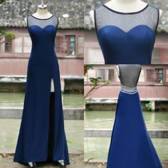 Wholesale 2014 Evening Dresses - Buy Royal Blue Net Chiffon GraduationEvening Dresses with Crew Neck Sequins Beads Hollow Back Split Side Real Samples SSJ Formal Prom Gowns SU22, $103.99 | DHgate