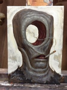 "CHET ZAR ""Holey Smoke"" 2014 Original oil study on canvas board. Canvas Board, Pop Surrealism, Surreal Art, Unique Art, Lion Sculpture, Study, Inspire, Oil, Smoke"
