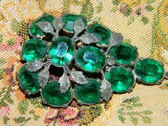 Vintage Green Rhinestone Shoe Clip, Brooch, Pendant, AS IS, UpCycle, Art Deco Rhinestones