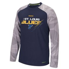 St. Louis Blues Center Ice Long Sleeve Play Dry Performance T-Shirt by Reebok