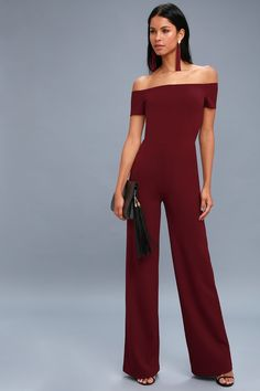 d3e48f9b854f7 Alleyoop Burgundy Off-the-Shoulder Jumpsuit
