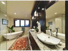 A complete rehaul of a lovely ensuite bathroom. Standalone tub and vessel sink, plus granite counters add luxury and make it a true retreat. Countertops by Patra Stone Works. Stand Alone Tub, Ensuite Bathrooms, Granite Counters, Vessel Sink, Corner Bathtub, Natural Stones, Relax, Luxury, Projects