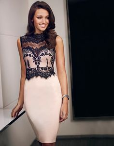Stylish nude pensil dress with black lace top  --  http://www.summerdressesfashion.com/florals-and-lace-in-michelle-keegans-lipsy-collention-ss2016/    --  #summer #fashion #MichelleKeegan #Lipsy
