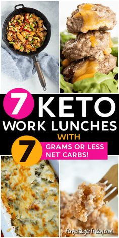 Keto Work Lunches with or less net carbs!re looking for easy keto lunches for work that y&; Keto Work Lunches with or less net carbs!re looking for easy keto lunches for work that y&; Low Carb Lunch, Low Carb Dinner Recipes, Lunch Recipes, Diet Recipes, Healthy Recipes, Lunch Meal Prep, Breakfast Recipes, Keto Foods, Best Keto Meals