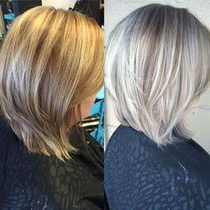 Avant-Apres : silver highlights in brown hair  Google Search | Haircuts lob