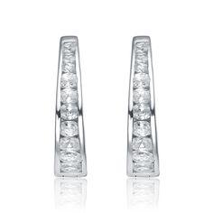 Collette Z Sterling Silver Cubic Zirconia Colossal Earrings (CZ Earring), Women's, Size: Medium, White