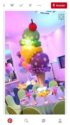 Ice Cream Balloons would be the perfect summer theme Bat Mitzvah or Bar Mitzvah centerpieces! Party Decoration, Balloon Decorations, Birthday Decorations, Balloon Ideas, Girl Birthday, Birthday Parties, Birthday Table, Candy Land Birthday Party Ideas, Birthday Ideas