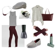 """Burgundy and Gray"" by rose-meister ❤ liked on Polyvore featuring J Brand, J.Crew, Nubar, TOMS, Donna Karan, Kate Wood Jewellery, Woolrich, DuWop, Barneys New York and women's clothing"