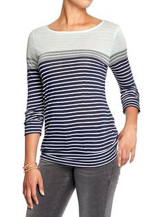 Women's Color-Block Striped Tees Product Image