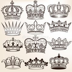 Photo about Vector set of crowns for your heraldic design. Illustration of cross, invitation, objects - 36282361
