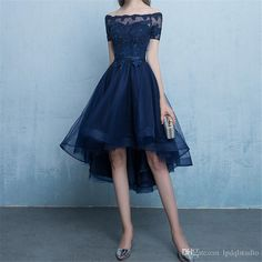 Cheap Easy Prom Dresses Blue Dark Blue Lace Tulle Short Sleeve High Low Round Neck A-Line Short Prom Dresses Uk - Available Options Source by OneEyedWolf - Short Prom Dresses Uk, Dark Blue Prom Dresses, High Low Evening Dresses, Lace Homecoming Dresses, Prom Dresses For Teens, Sweet 16 Dresses, Prom Dresses With Sleeves, Dress Prom, Dress Lace