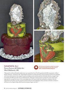 Bram Stoker's Dracula inspired cake as featured in American Cake Decorating Magazine Sep/Oct 2015 ~ Fancy Favours & Edible Art #unusualweddingcake #weddingcake#unusual #cake #dracula #bramstoker #eikoishioka #francisfordcoppola