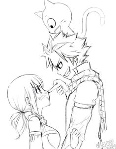 Fairy Tail - Natsu and Lucy (Black N White)