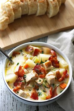 This chicken potato chowder is great for using up leftover grilled chicken breasts. It is easy to make and super tasty thanks to added bacon.   honeyandbirch.com