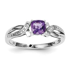 *Extra 10% off on our store plus No Shipping Charges! Period. Sterling Silver R... Check it out here! http://shirindiamond.net/products/sterling-silver-rhodium-plated-amethyst-diamond-ring-qr4553am?utm_campaign=social_autopilot&utm_source=pin&utm_medium=pin