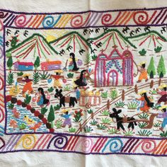 These hand-embroidered story-cloth textiles are made by the women of Tzintzuntzan, Michoacán. Story cloths are a folk art tradition in many countries around the world. In the Twin Cities we are famili
