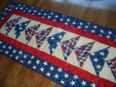 Patriotic Flying Geese Quilted Table Runner  14 by mycraftycorner