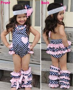 Pink Navy Polka Dot Bubble Romper #daily-deal #new