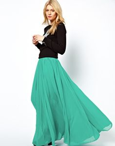ASOS Maxi Skirt with Broderie Inserts