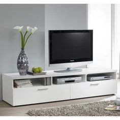 Tvilum Hayward Collection 71 in. TV Stand - Media storage has never been so sleek and stylish as with this Tvilum Hayward 71 in. TV Stand . It boasts an easy-to-clean melamine surface that is...