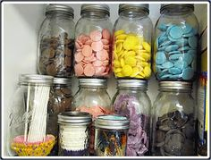 You can use glass bottles and jars for organizing everything that you want to find fast: sewing supplies, office supplies, kitchen gadgets etc. I have been collecting these like crazy and I love not having to go through boxes anymore to find things :-) Baking Storage, Baking Organization, Kitchen Organisation, Room Organization, Food Storage, Bottles And Jars, Glass Bottles, Mason Jars, Bakery Kitchen