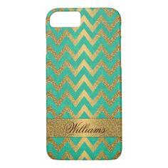 Cute trendy chevron zigzag faux gold glitter iPhone 8/7 case