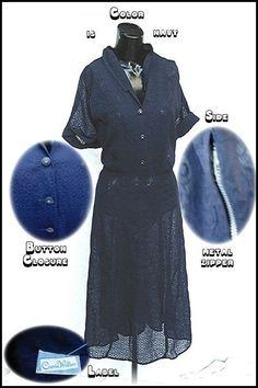 1950s Navy Blue XXL lace dress 50s Carrie Walker label 1950's 50's.