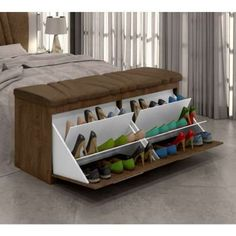 Headboard and zapateras Shoehorn Shoemaker Mille 160 cm White Suede Amassado Beige Milani . Space Saving Furniture, Home Decor Furniture, Home Decor Bedroom, Furniture Design, Diy Bedroom, Furniture Ideas, Bedroom Furniture, Bedroom Closet Design, House Rooms