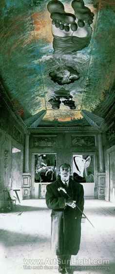 Salvador Dali's oil painting Ceiling of the 'Palace of the Wind', circa 1973