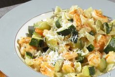 Kitchen Boss Shrimp with Farfalle & Zucchini. I'd probably reduce the...