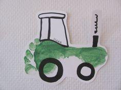 Tractor met een voetafdruk Art For Kids, Crafts For Kids, October Crafts, Baby Sensory, Down On The Farm, Montessori, Baby Room, Tractors, Valentines Day