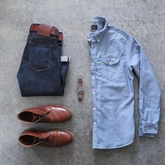 Double Denim Is The Way To Go. Follow @capsulewardrobemen for more. . . . #mensfashion #outfitgrid #flatlay #vscogrid