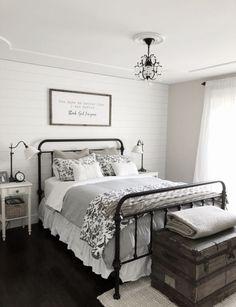 Modern Farmhouse Bedroom Decor Shiplap Accent Wall, Black Iron Bed on Home Inteior Ideas 7697 White Plank Walls, Grey Walls, Black Iron Beds, Modern Farmhouse Bedroom, Rustic Farmhouse, Farmhouse Ideas, Modern Bedroom, Bedroom Black, Bedroom Rustic