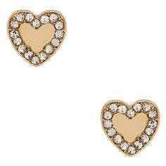 Blu Bijoux Gold Shelby Crystal Heart Studs ($22) ❤ liked on Polyvore featuring jewelry, earrings, crystal jewelry, gold jewellery, gold jewelry, crystal stud earrings and gold crystal jewelry