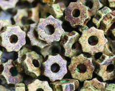 Olivine Wheel beads, Greek ceramic beads - Olive Green wheel spacers, washer, rondelle, 7mm - 25pc - 0692