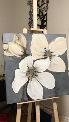 Easy Flower Painting, Acrylic Painting Flowers, Easy Canvas Painting, Diy Canvas Art, Abstract Flowers, Diy Painting, Painting Tutorials, Painting Abstract, Painting Techniques