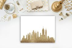 New York City skyline print NYC skyline art by Designsbybiancab