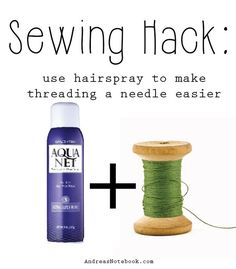 Sewing Hacks | Best Tips and Tricks for Sewing Patterns, Projects, Machines, Hand Sewn Items. Clever Ideas for Beginners and Even Experts  |  Needle Threading Secret  |  http://diyjoy.com/sewing-hacks