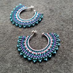 hoop earrings blue seed beads - Google Search
