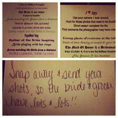 I Spy Wedding Game.. Love this! So long as it doesn't interfere with or both the actual photographer!