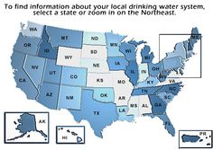 US EPA Local Drinking Water Information: To find info about your local drinking water system, select a state. The page states that the local state info may not be up to date, but it's a start. Water Information, United States Map, 50 States, Water Supplier, Drinking Water Bottle, Water Safety, Blue Sky Background, Water Quality, Us Map