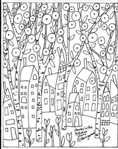 Folk Embroidery Patterns Rug Hook Paper Pattern Houses in The Birches Folk Art Abstract Primitive Karla G Folk Embroidery, Embroidery Patterns, Karla Gerard, Lilo E Stitch, Rug Hooking Patterns, Doodles, House Quilts, Penny Rugs, Zentangle Patterns