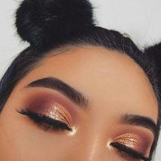 Gloedmake-up koperen oogschaduw oranje oogmake-up oranje atmosfeer meisje make-up schattig meisje oranje oogschaduw wenkbrauwmake-up. Credit: onbekend Finest Image For Beaute Make-up brand For Your Style. Glam Makeup, Glitter Eye Makeup, Cute Makeup, Girls Makeup, Makeup Inspo, Makeup Inspiration, Hair Makeup, Makeup Ideas, Makeup Stuff
