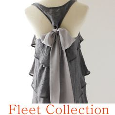 Just purchased with light blue bow. ASHEN AURA  Sleeveless Dark Grey Blouse with by FleetCollection, $42.00