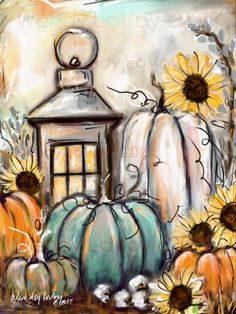 Friday $35: Lantern with Pumpkins and Sunflowers! COME & ENJOY SOME FREE SAMPLES FROM MEALS BY MISTY! Fall Canvas Painting, Autumn Painting, Autumn Art, Diy Painting, Painting & Drawing, Canvas Art, Fall Paintings, Canvas Paintings, Photo Canvas