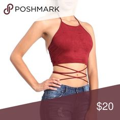 Ribbon Tie Crop Top Ribbon tie halter beck suede cropped top with strings lace up design round the waist. 97% Polyester 3% Spandex. Brand new with tags! Ashlee Natalia Tops Crop Tops