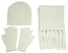 Simplicity Unisex Beanie Gloves Scarf Cold Weather Matching Set Solid Color, Ivory. Warm winter set. Practical accessory with sizes available for all ages. Comes w/ Beanie, Gloves, and Scarf. Solid color is easy to match all cloth. Different styles have different size options and materials; please see Product Description below.