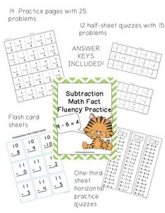 Addition and Subtraction fluency practice bundle. Just print and use--answer keys included. Simple, basic practice. $